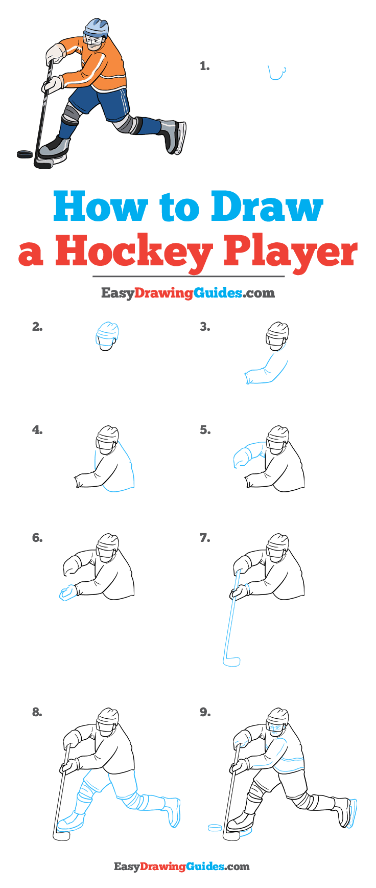 How to Draw Hockey Player