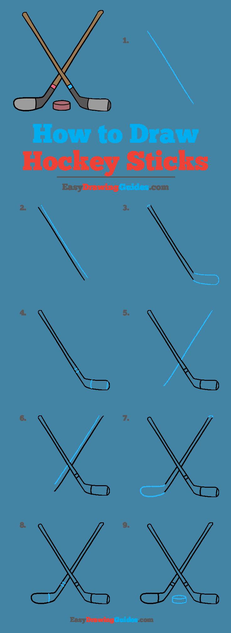 How to Draw a Hockey Sticks Step by Step Tutorial Image