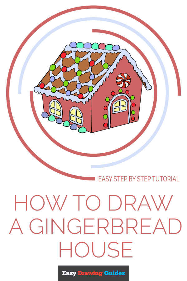 How to Draw Gingerbread House | Share to Pinterest