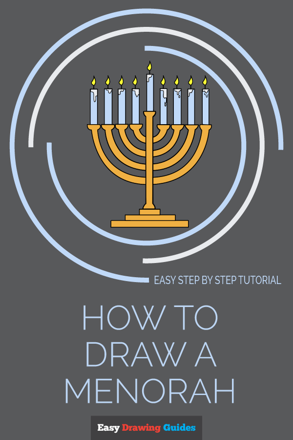 How to Draw Menorah | Share to Pinterest
