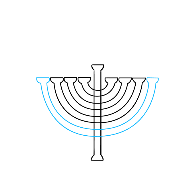 How to Draw Menorah: Step 4