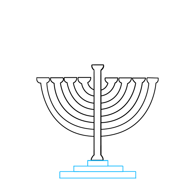 How to Draw Menorah: Step 6