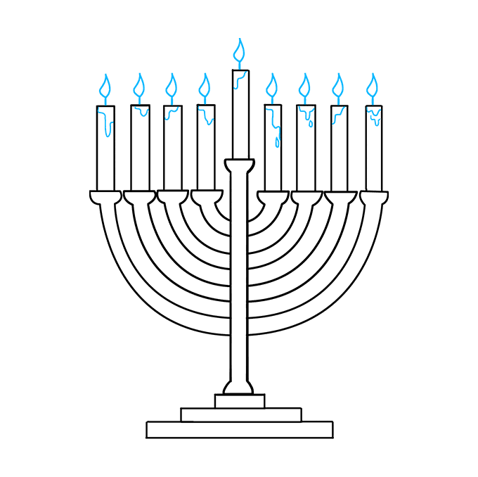 How to Draw Menorah: Step 9