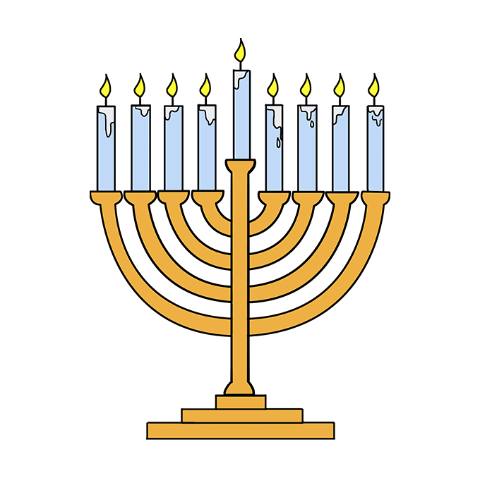 How to Draw Menorah: Step 10