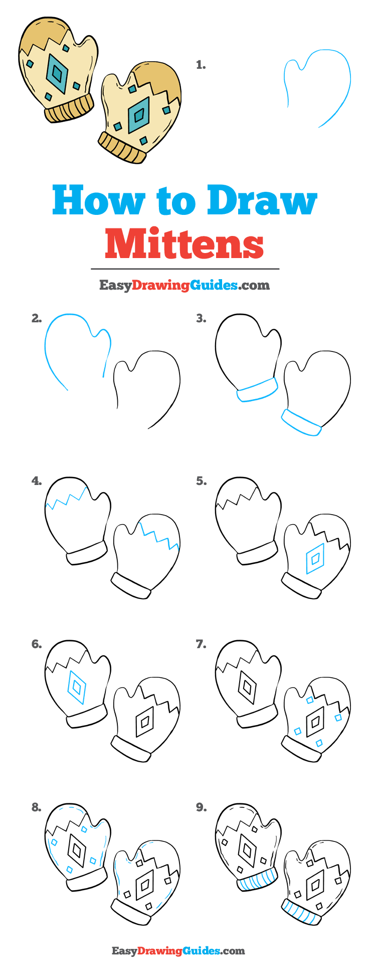 How to Draw Mittens Step by Step Tutorial Image