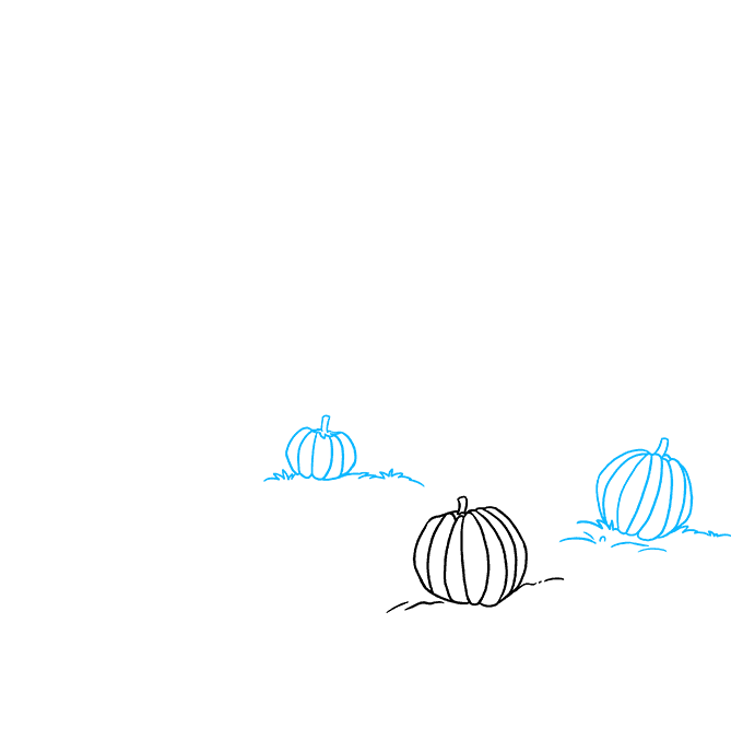 How to Draw a Pumpkin Patch Step 02