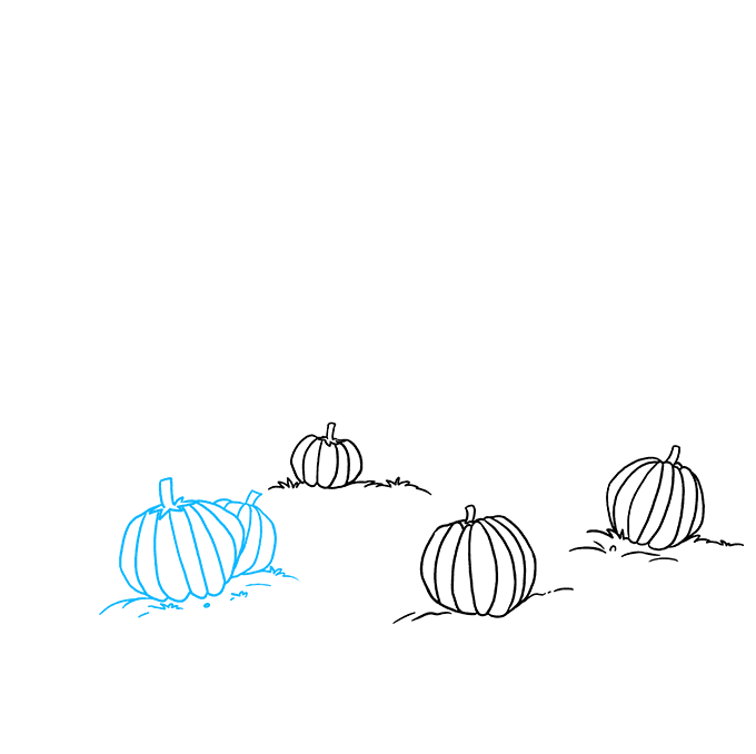 How to Draw a Pumpkin Patch Step 03