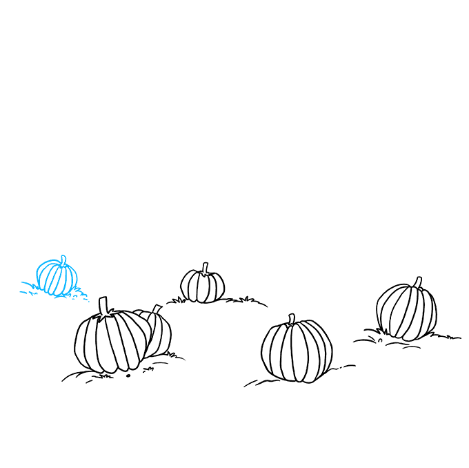How to Draw a Pumpkin Patch Step 04