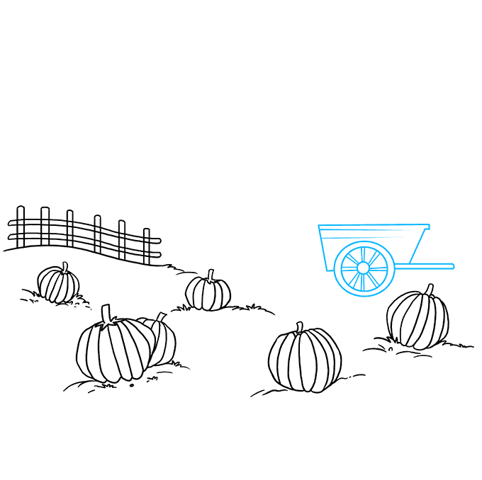 How to Draw a Pumpkin Patch Step 06