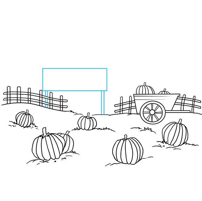 How to Draw a Pumpkin Patch Step 08