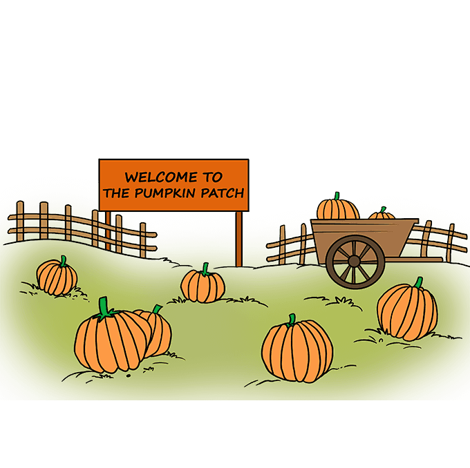How to Draw a Pumpkin Patch Step 10