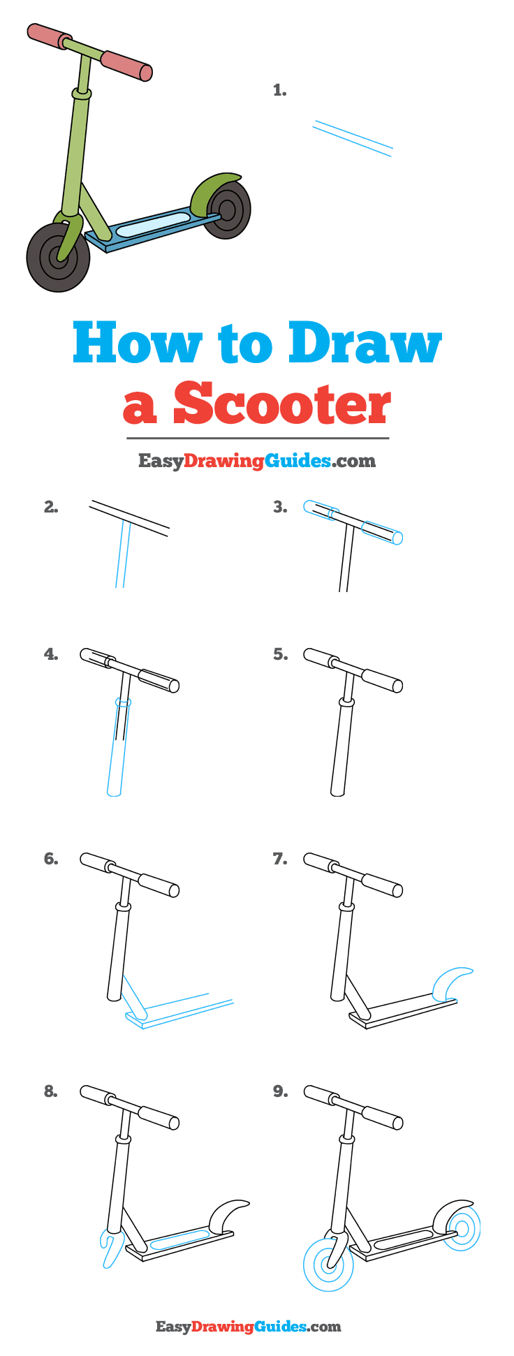 How to Draw a Scooter Step by Step Tutorial Image