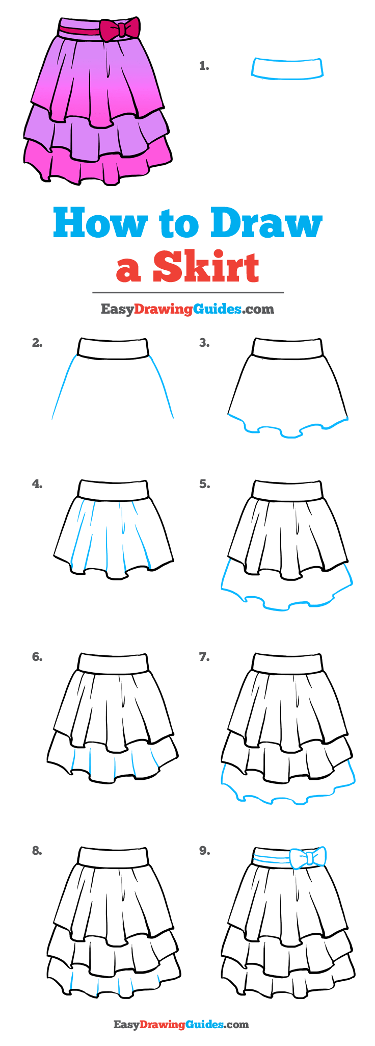 How to Draw a Skirt Step by Step Tutorial Image