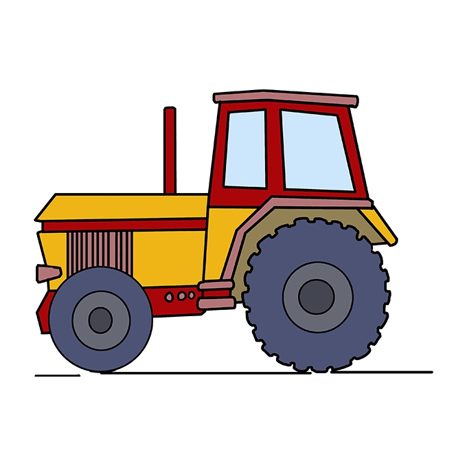 How to Draw Tractor: Step 10