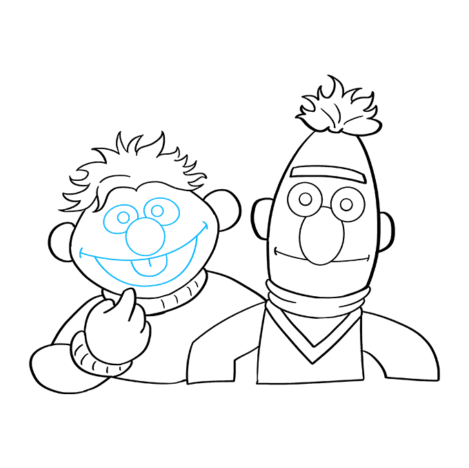 How to Draw Bert and Ernie from Sesame Street: Step 8
