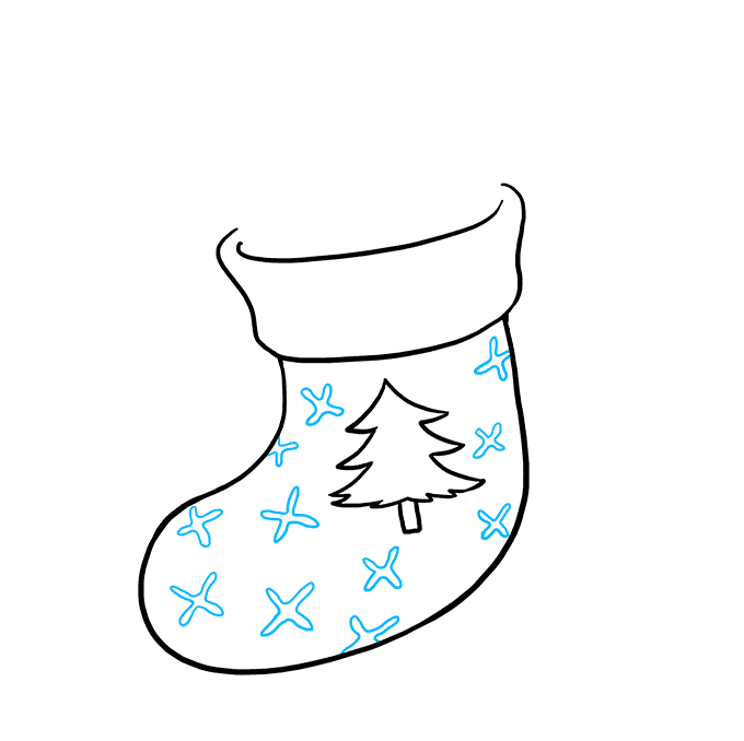 How to Draw Christmas Stocking: Step 4