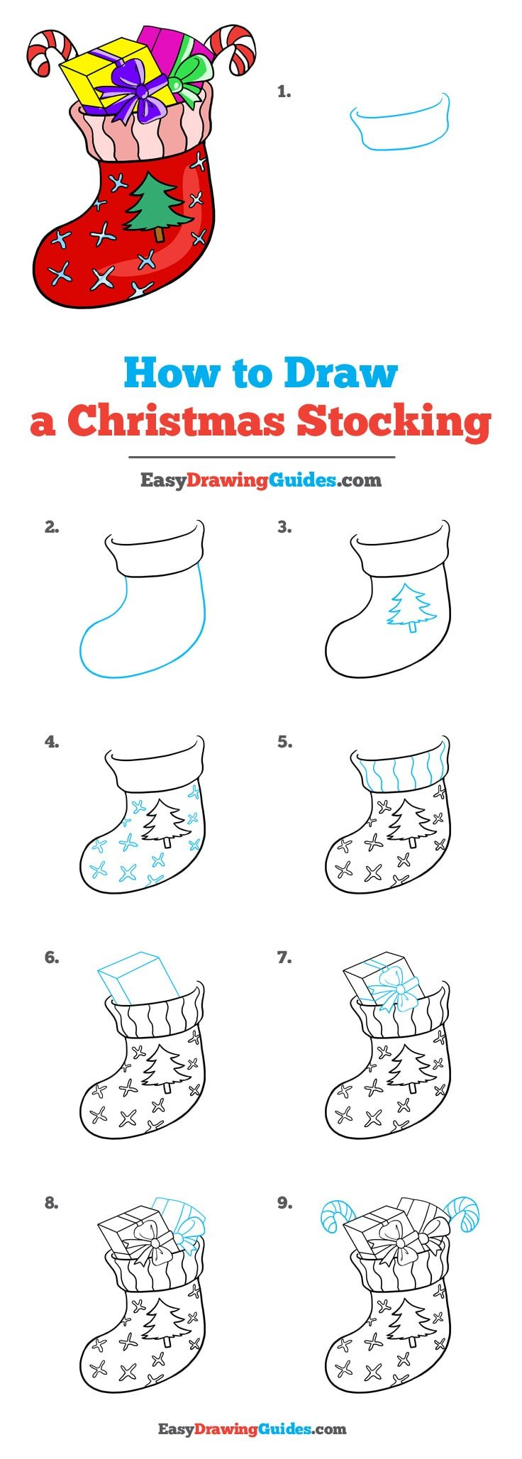 How to Draw Christmas Stocking
