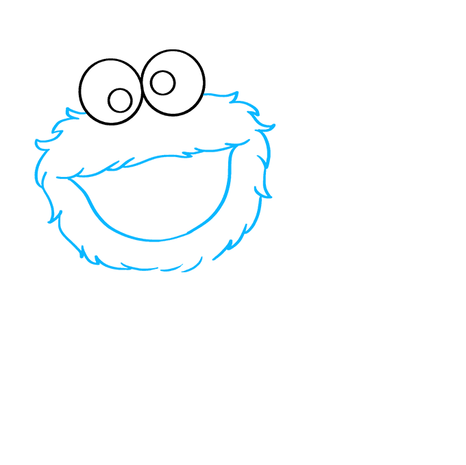 How to Draw Cookie Monster from Sesame Street: Step 2