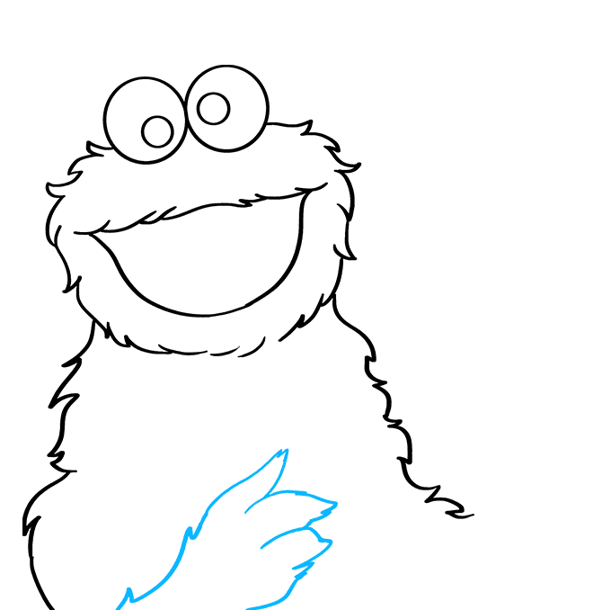 How to Draw Cookie Monster from Sesame Street: Step 4