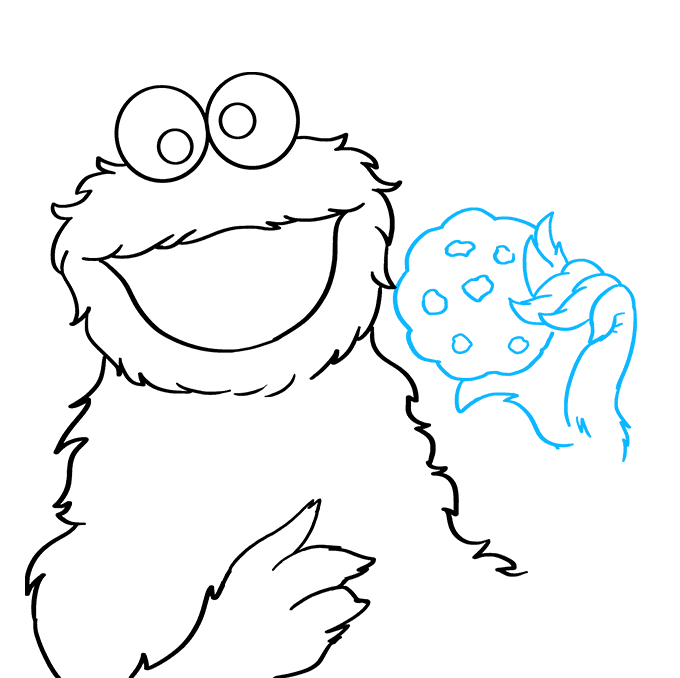 How to Draw Cookie Monster from Sesame Street: Step 5