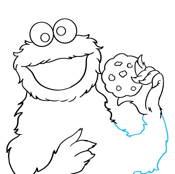 How to Draw Cookie Monster from Sesame Street: Step 6