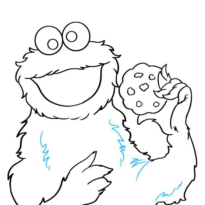 How to Draw Cookie Monster from Sesame Street: Step 7