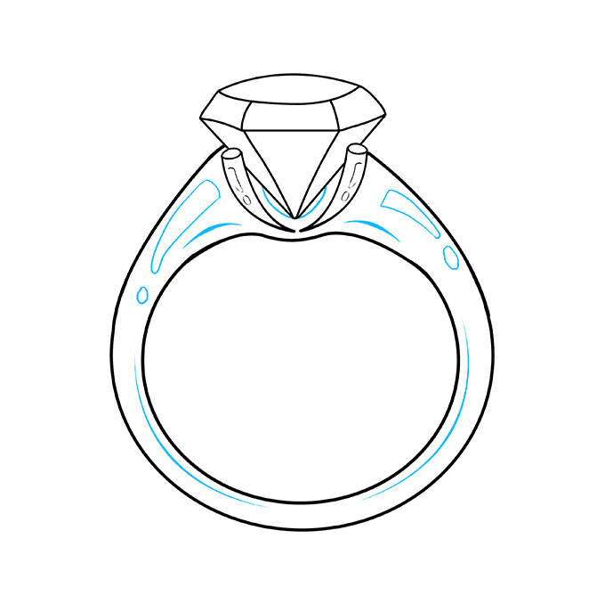 How to Draw Diamond Ring: Step 9
