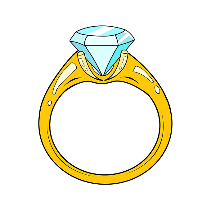 How to Draw Diamond Ring: Step 10