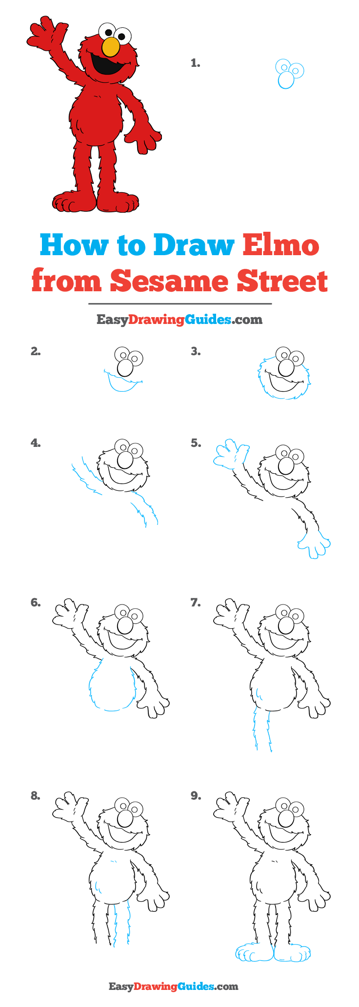 How To Draw Elmo From Sesame Street Really Easy Drawing