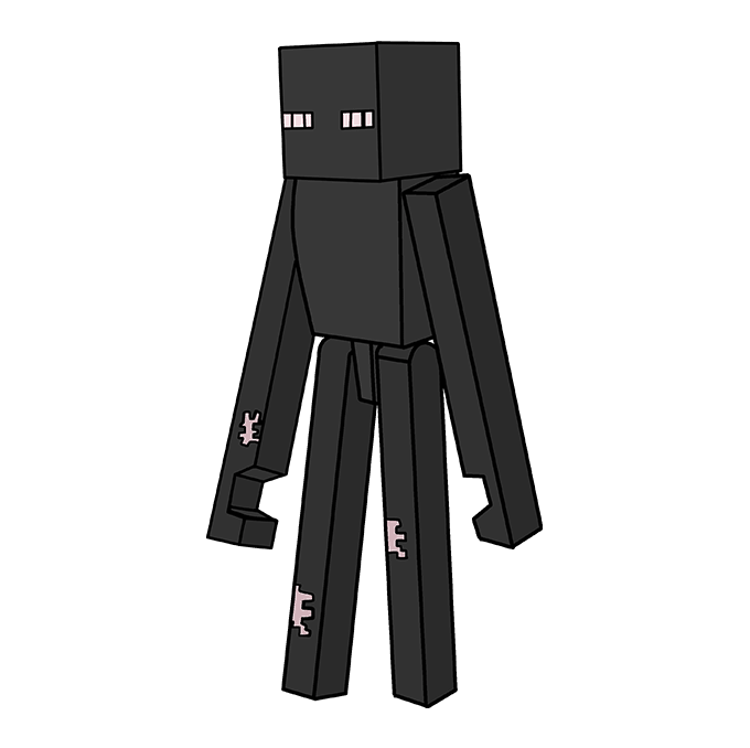 How to Draw Enderman from Minecraft: Step 10
