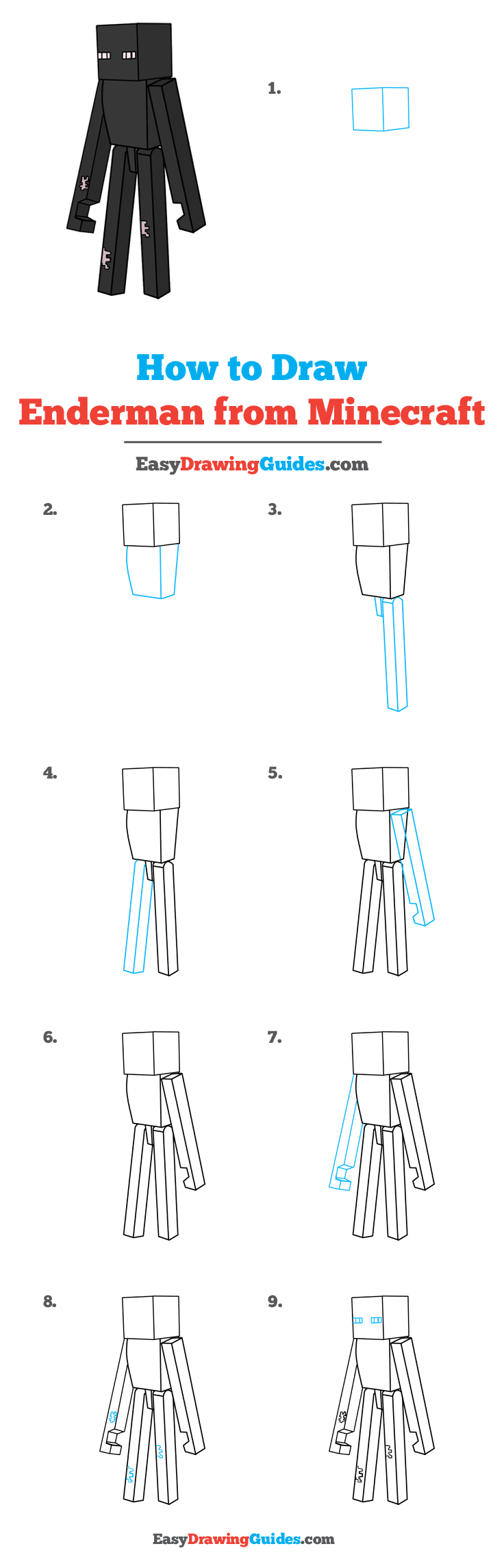 How to Draw Enderman from Minecraft