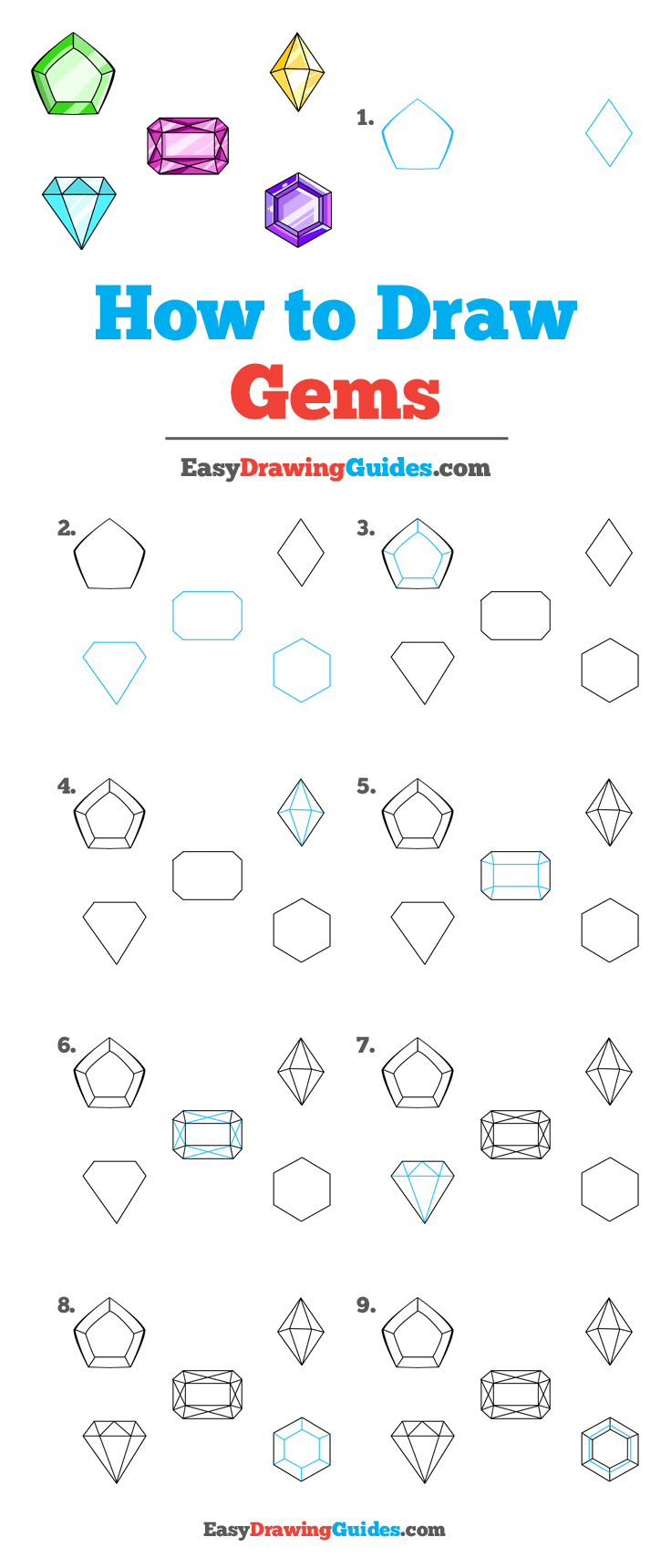 How to Draw Gems - Really Easy Drawing Tutorial