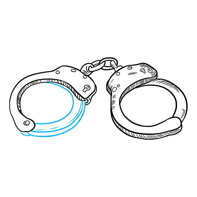 How to Draw Handcuffs: Step 9