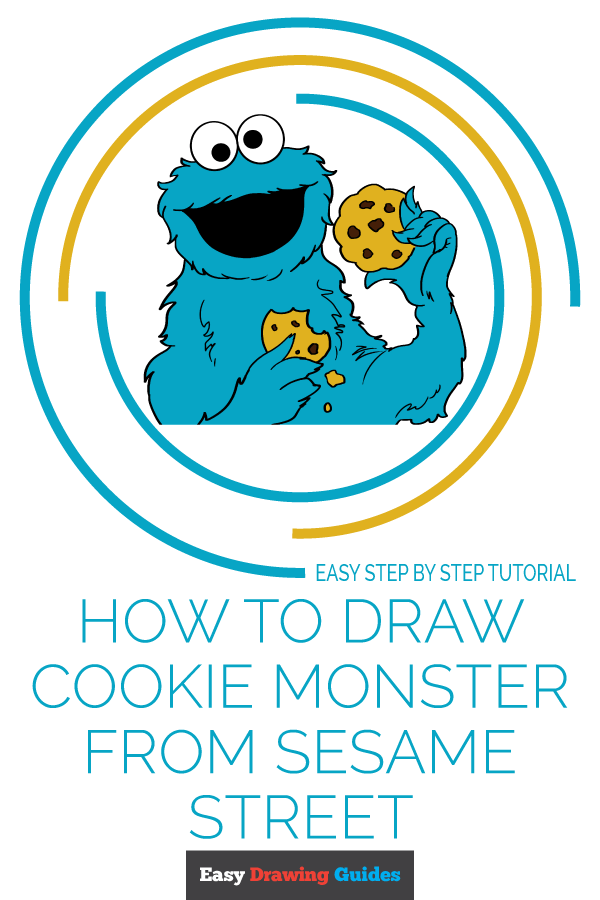 How to Draw Cookie Monster from Sesame Street | Share to Pinterest