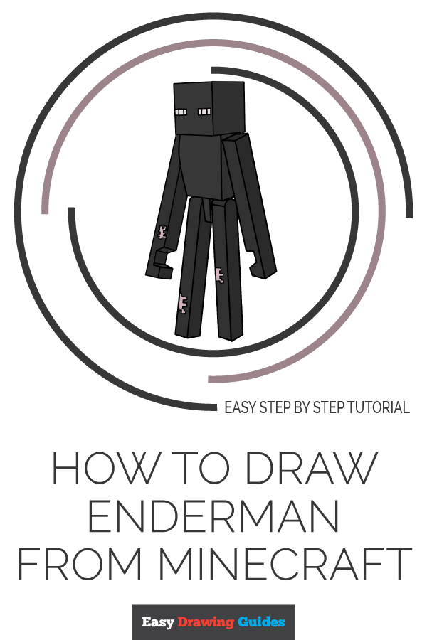 How to Draw Enderman from Minecraft | Share to Pinterest