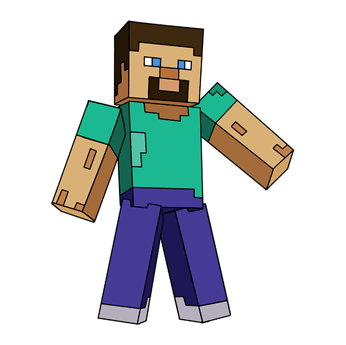 How To Draw Steve From Minecraft Really Easy Drawing Tutorial