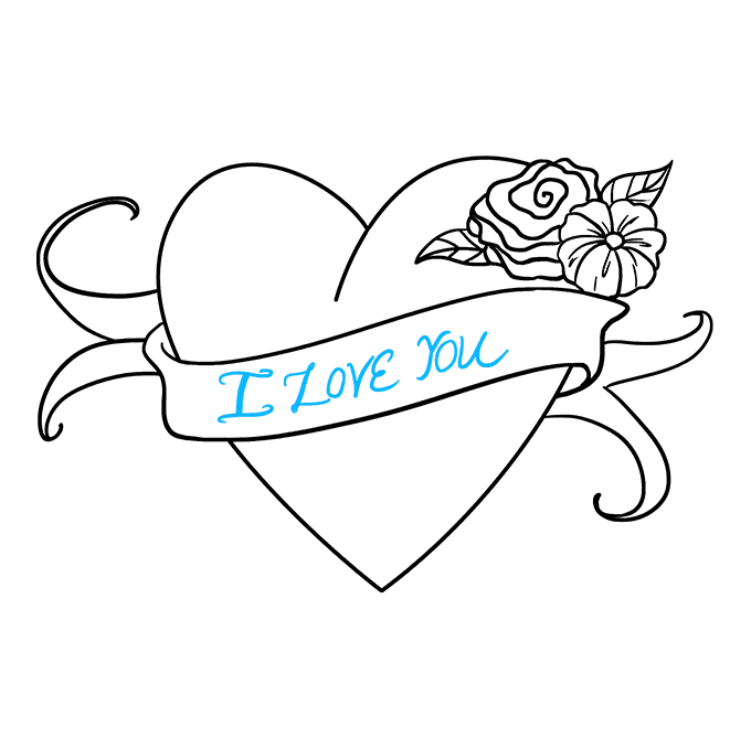 This is a graphic of Sizzling I Love You Drawing