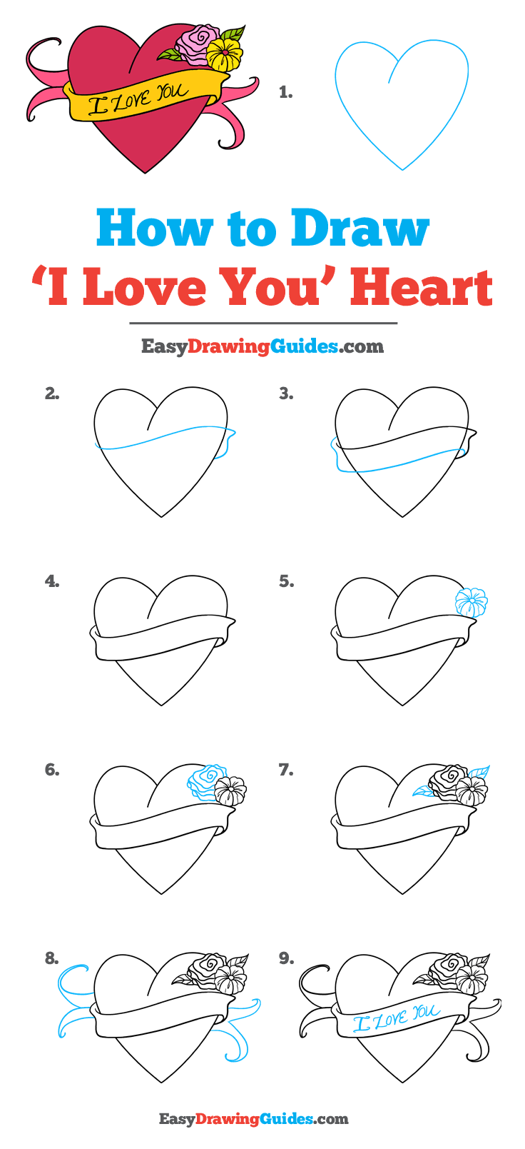 """How to Draw an """"I Love You"""" Heart - Really Easy Drawing ..."""