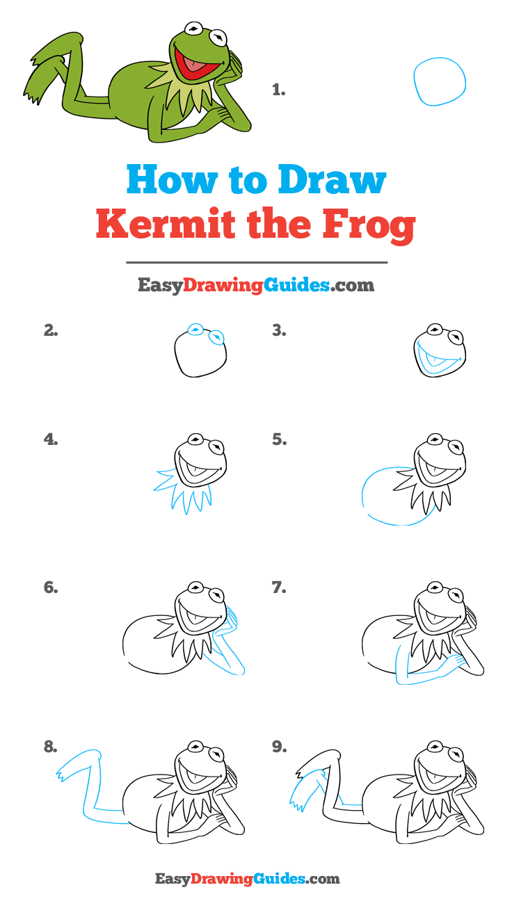 How to Draw Kermit the Frog Step by Step Tutorial Image