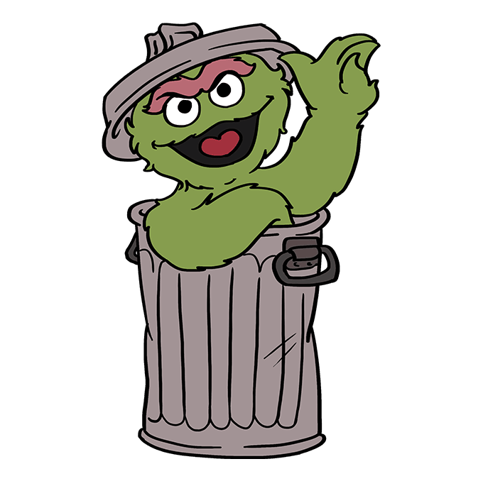 How to Draw Oscar Grouch from Sesame Street: Step 10