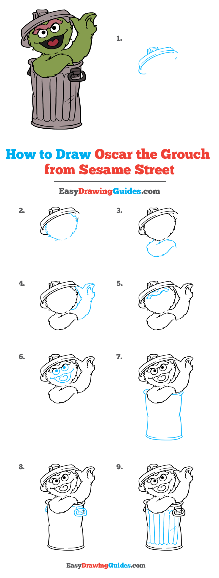 How to Draw Oscar Grouch from Sesame Street