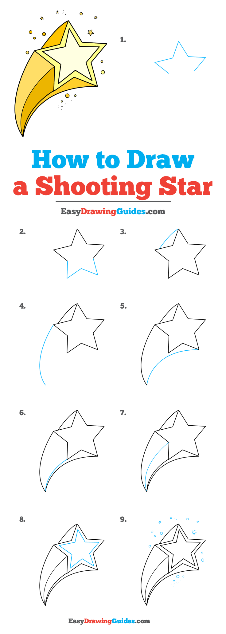 How to Draw a Shooting Star Step by Step Tutorial Image