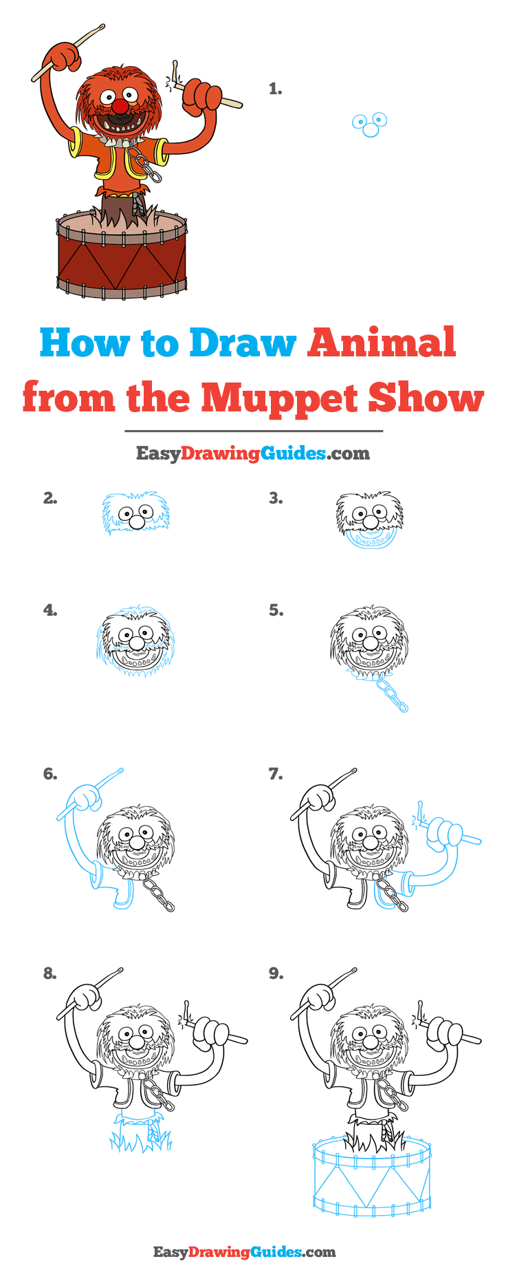 How to Draw Animal from the Muppet Show Step by Step Tutorial Image
