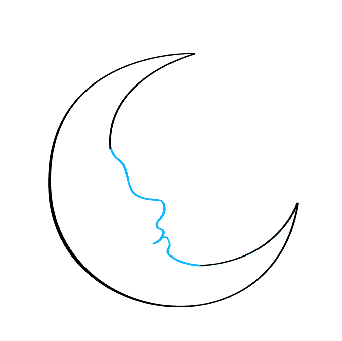 How to Draw Crescent Moon: Step 4