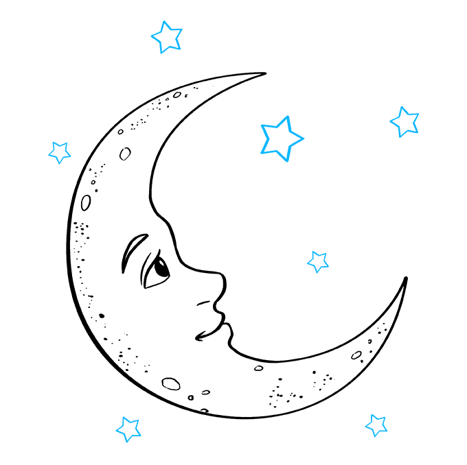How to Draw Crescent Moon: Step 9