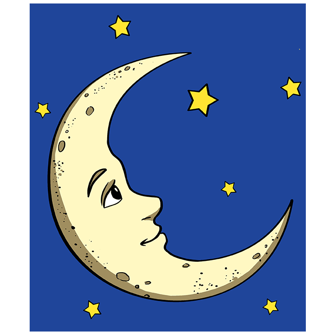 How to Draw Crescent Moon: Step 10