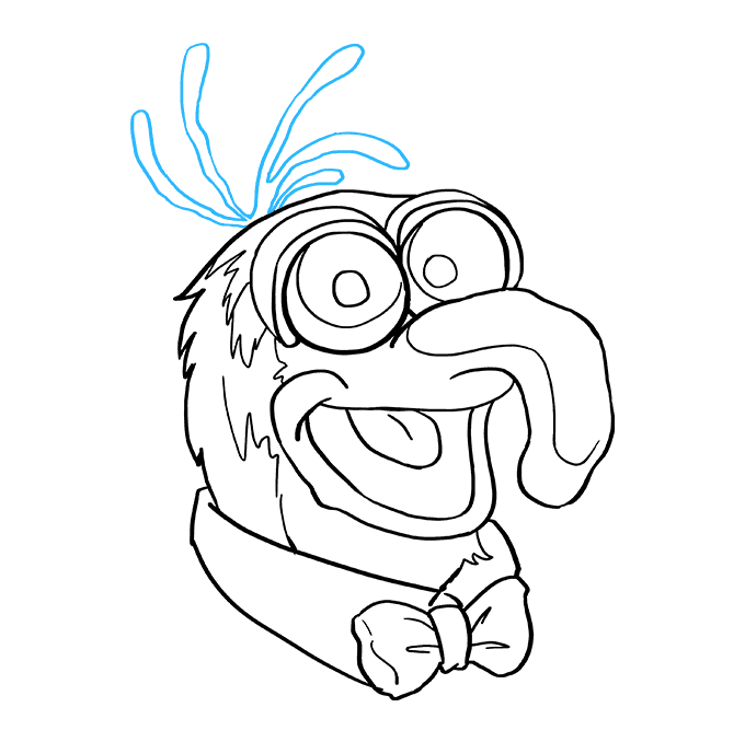 How to Draw Gonzo from the Muppet Show: Step 9