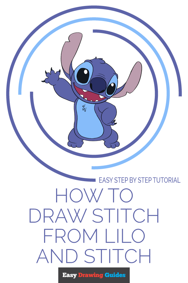 How to Draw Stitch from Lilo and Stitch | Share to Pinterest