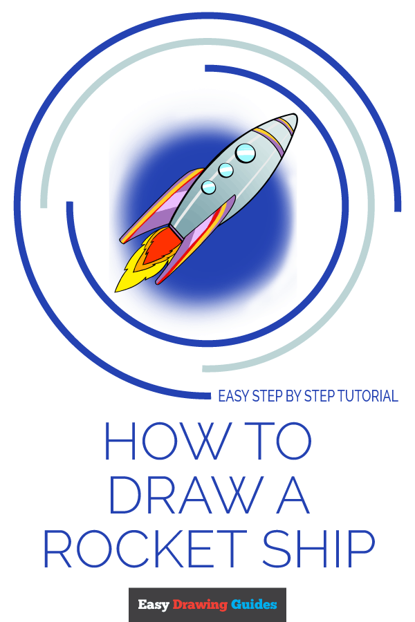 How to Draw a Rocket Ship Pinterest Image