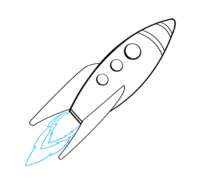 How to Draw a Rocket Ship Step 09